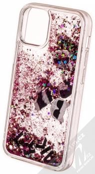 Karl Lagerfeld Floating Karl Liquid Glitter ochranný kryt s přesýpacím efektem třpytek pro Apple iPhone 12 mini (KLHCP12SROPI) růžová černá (pink black) zezadu