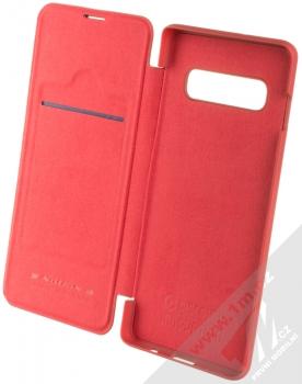 Nillkin Qin flipové pouzdro pro Samsung Galaxy S10 Plus červená (red) otevřené