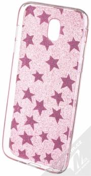 Sligo Glitter Stars třpytivý ochranný kryt pro Samsung Galaxy J5 (2017) růžová (pink) zepředu