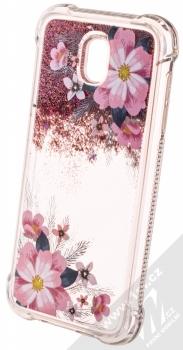 Sligo Liquid ShockProof Flower 1 odolný ochranný kryt s přesýpacím efektem třpytek a s motivem pro Samsung Galaxy J5 (2017) růžová (pink) animace 1