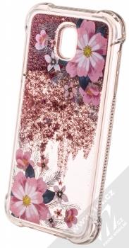 Sligo Liquid ShockProof Flower 1 odolný ochranný kryt s přesýpacím efektem třpytek a s motivem pro Samsung Galaxy J5 (2017) růžová (pink) animace 2