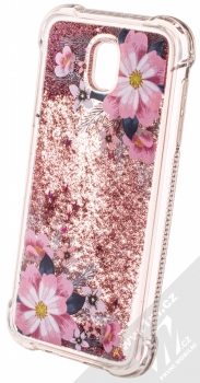 Sligo Liquid ShockProof Flower 1 odolný ochranný kryt s přesýpacím efektem třpytek a s motivem pro Samsung Galaxy J5 (2017) růžová (pink) animace 3