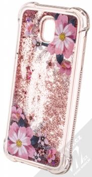 Sligo Liquid ShockProof Flower 1 odolný ochranný kryt s přesýpacím efektem třpytek a s motivem pro Samsung Galaxy J5 (2017) růžová (pink) animace 4