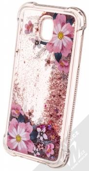 Sligo Liquid ShockProof Flower 1 odolný ochranný kryt s přesýpacím efektem třpytek a s motivem pro Samsung Galaxy J5 (2017) růžová (pink) animace 5