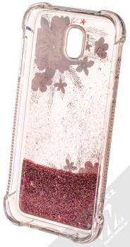 Sligo Liquid ShockProof Flower 1 odolný ochranný kryt s přesýpacím efektem třpytek a s motivem pro Samsung Galaxy J5 (2017) růžová (pink) zepředu