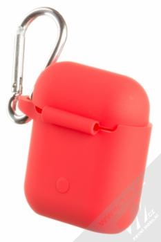 USAMS Silicone Protective Case silikonové pouzdro pro sluchátka Apple AirPods červená (red) zezadu
