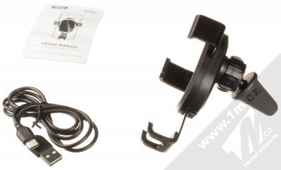XO WX015 Car Holder Wireless držák s bezdrátovým nabíjením do mřížky ventilace automobilu černá (black) balení