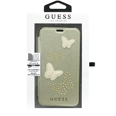 Guess Studs and Sparkle Booktype Case ochranný kryt pro Apple iPhone X, iPhone XS (GUFLBKPXPBUBE)
