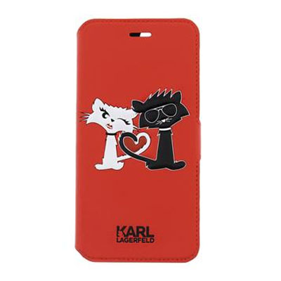 Karl Lagerfeld Choupette in Love Booktype Case flipové pouzdro pro Apple iPhone 5, iPhone 5S, iPhone SE.