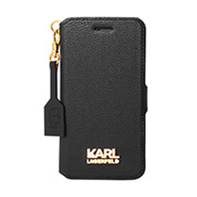 Karl Lagerfeld Grainy Gold Booktype Case flipové pouzdro pro Apple iPhone 7.